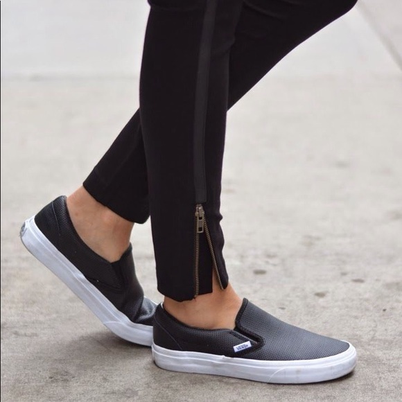 new products favorable price temperament shoes Women's Vans Perforated Slip On Sneakers Black